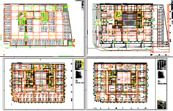 Four story office building floor plan layout details dwg file