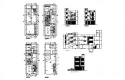 Four story residential apartment building detailed architecture project dwg file