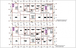 Fourth and fifth floor plan of block B for administration building dwg file