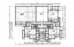 Framing plan and layout plan details of commercial complex dwg file