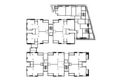 Framing plan details of apartment building dwg file