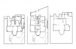 Framing plan details of three floors of house dwg file
