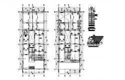Framing plan of floors, brick wall and constructive structure details dwg file