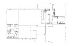 Framing plan with sanitary of one family house dwg file