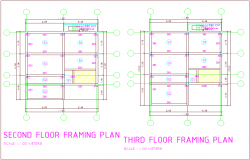 Framing plan with second and third floor plan of office area dwg file