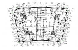 Free Download Column Foundation Plan With Center line DWG File