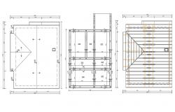 Free Download Truss Top Level Plan With Beam Column Grid Design AutoCAD File