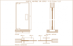 Folding door design view, horizontal & vertical section dwg file