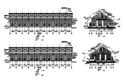 Front, back and side constructive sectional details of long house dwg file