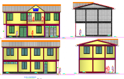 Front, back and side elevation details of admin office dwg file