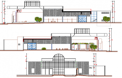 Front, back and side elevation details of bank dwg file