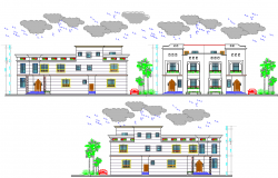 Front, back and side elevation of residential building dwg file