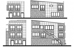 Front, back and side elevation of three flooring bungalow dwg file