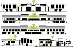 Front, back and side elevation view of community service center dwg file