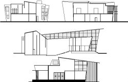 Front, back and side elevations of city auditorium hall building dwg file