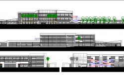 Front, back and side elevations of multi-flooring hospital dwg file
