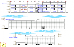 Front, back elevation and main sectional details of corporate building dwg file