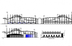 Front, back elevation and sectional view details of shopping mall details dwg file