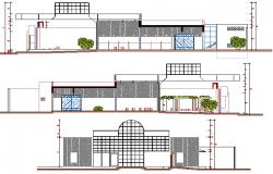 Front, back and side elevation details of bank dwg file