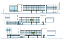 Front, back and side elevation details of municipality building dwg file