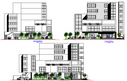 Front, back and side elevation view of multi-story municipal building dwg file
