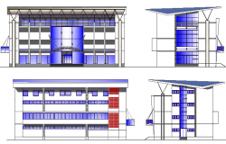 Front, back and side elevation view of shopping mall dwg file