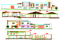 Front, back and side elevations of multi-flooring health center dwg file