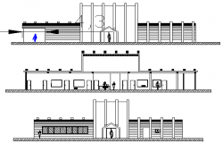 Front, back elevation and sectional view of private corporate office details dwg file