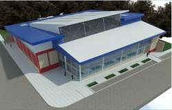 Front 3 D commercial building elevation plan detail dwg file