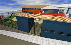 Front 3d view of children play school building.