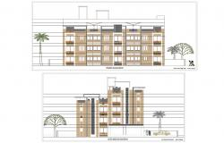 Front And Left Side Elevation Of Apartment Building With Presentation AutoCAD File