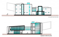 Front Elevation and back elevation college detail dwg file
