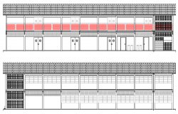 Front Elevation of Corporate Building Design dwg file