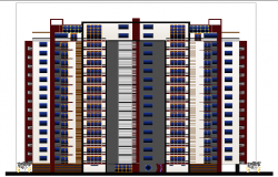 Front Elevation of High Rise Building dwg file