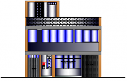 Front Elevation of Housing Project dwg file