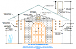 Front Elevation working plan detail dwg file