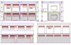 Front and Back Elevations of High School Project dwg file