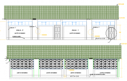Front and Back Elevations of Village School Architecture Design dwg file