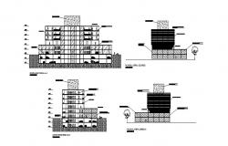 Front and back elevation and section details of corporate building dwg file