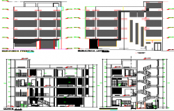 Front and back elevation and sectional details of residential building dwg file