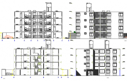 Front and back elevation and sectional view of residential apartment building dwg file