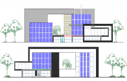Front and back elevation details of administrative center office dwg file