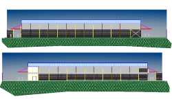 Front and back elevation details of industrial plant dwg file