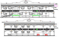 Front and back elevation details of municipal town hall project dwg file