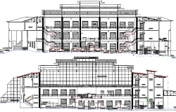 Front and back elevation details of urban industrial plant dwg file