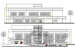 Front and back elevation of finance building dwg file