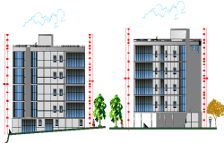 Front and back elevation of multi-family residential housing building dwg file