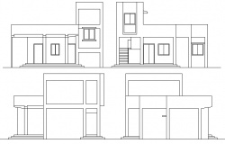 Front and back elevation of one level single family house dwg file