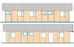 Front and back elevation of wood camp house dwg file