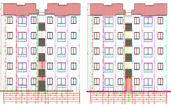 Front and back elevation view of multi-flooring housing building dwg file